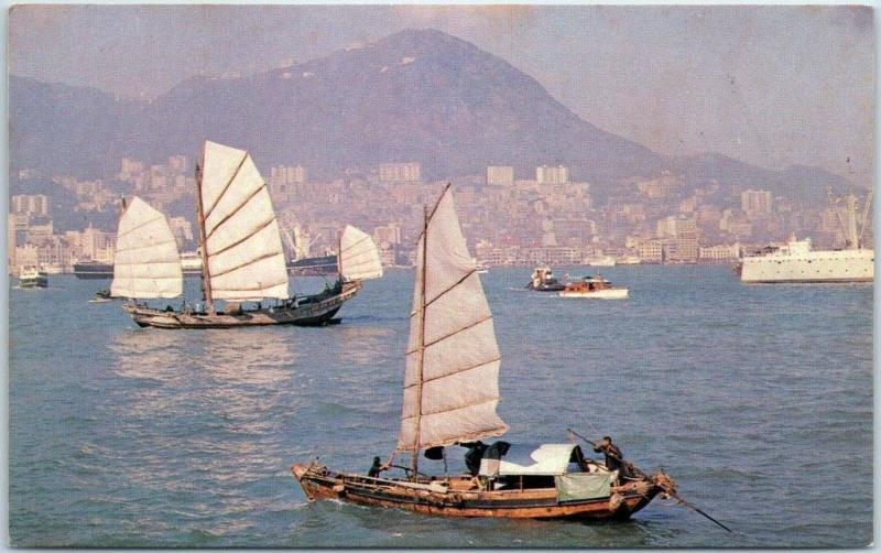 Vintage HONG KONG Postcard View of The Harbor Junk Boats TWA Airlines Ad 1960s