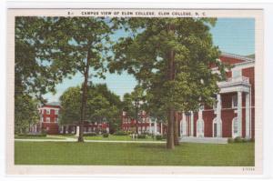 Elon College Campus View North Carolina linen postcard