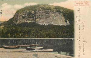 North Conway New Hampsire~White Horse Lodge~Echo Lake~Docked Rowboats~1906