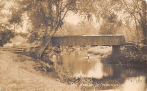 West Farmington Maine~Red Covered Bridge~Boy in Water~1913 Real Photo Postcard