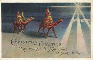 North Star Wiseman Camels Christmas Greetings Postcard