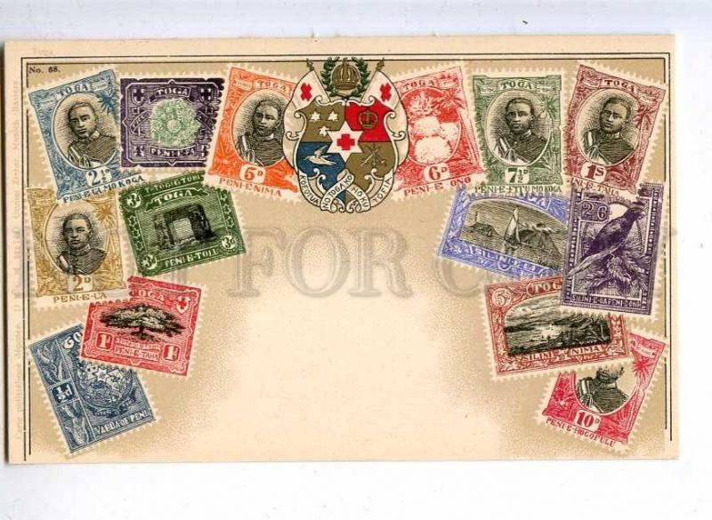 231940 TONGA TOGA Coat of arms STAMPS Vintage Zieher postcard