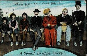 BAMFORTH COMIC POSTCARD - SELECT BRIDGE PARTY - USED - PC70