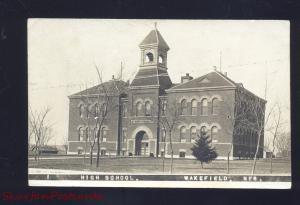 RPPC WAKEFIELD NEBRASKA HIGH SCHOOL BUILDING VINTAGE REAL PHOTO POSTCARD 1910