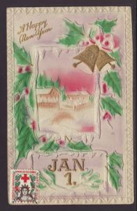 Happy New Year,Bell,Holly,Scene Postcard