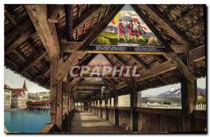 Old Postcard Luzern Kapellbrucke