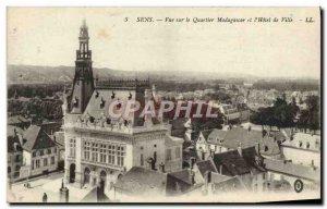 Old Postcard Sens View Madagascar Quarter and the city & # 39hotel