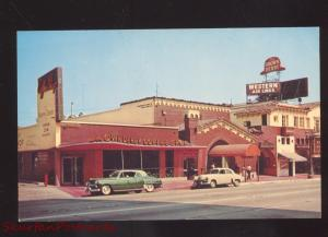 HOLLYWOOD CALIFORNIA THE BROWN DERBY RESTAURANT 1950's CARS VINTAGE POSTCARD