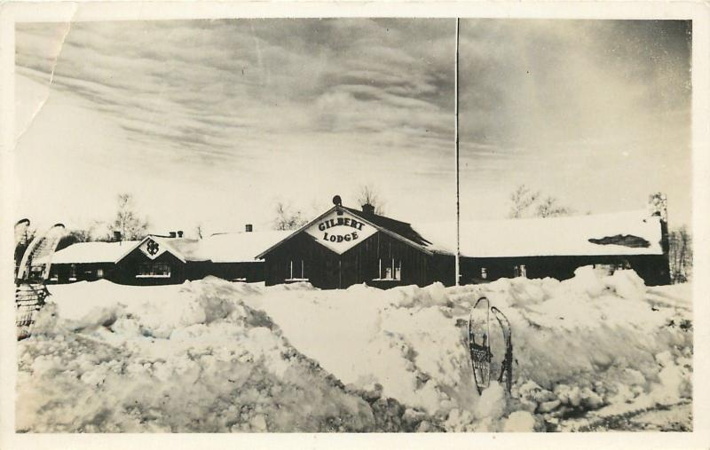 Gilbert Lodge~Skis Imbedded in Snow Bank~Real Photo Postcard c1950