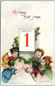 Vintage HAPPY NEW YEAR Postcard Children & Holly January 1 Calendar Page 1910s