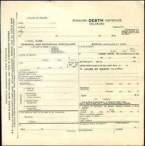 DELAWARE - Standard DEATH CERTIFICATE ( BLANK) 1910s era