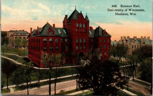 Vtg 1913 Science Hall Building University Of Wisconsin Madison WI Postcard