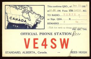 QSL from Canada VE4SW to New Jersey W2ETI