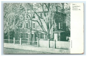 Postcard Longfellow's Mansion, Portland ME Maine udb w/o color G33