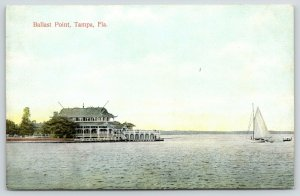 Tampa FL~Ballast Point Resort Hotel Casino~Sailboat Out From Landing Dock~c1910