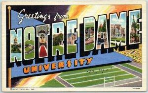 1940s NOTRE DAME UNIVERSITY Large Letter Postcard Football Curteich Linen Unused