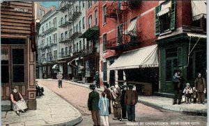 NEW YORK CITY, NY New York  CHINATOWN STREET SCENE   c1910s    Postcard