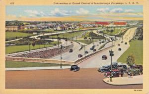 LONG ISLAND NY~INTERSECTION GRAND CENTRAL & INTERBOROUGH PARKWAYS POSTCARD 1920