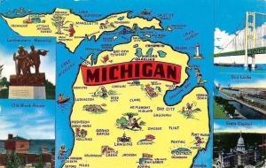 USA Michigan The Water Wonderland Map, State Capitol Lumbermens Memorial Old H