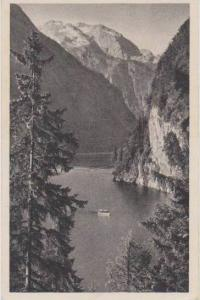 Scenic View: Boat on Lake Koenigssee in Mountains, Berchtesgaden, Bavaria, Ge...
