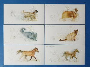 Set of 6 Art Postcards, Animals, Dogs, Cats, Ponies, Pony by Per Lindstrom AT1