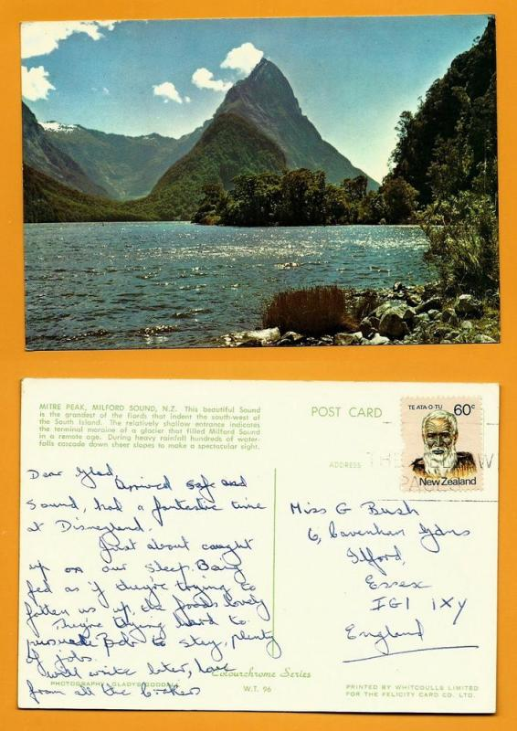 NEW ZEALAND POSTCARD-STAMP-MITRE PEAK-MILFORD SOUND