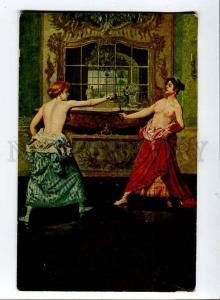 257385 MASTAGLIO Duel NUDE WOMEN FENCING Vintage postcard