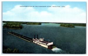 Mid-1900s Barge Traffic on the Mississippi River, Muscatine, Iowa Postcard