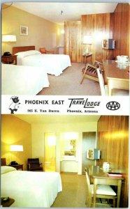 Phoenix, Arizona Postcard PHOENIX EAST TRAVELODGE Motel  - 2 Room Views c1960s