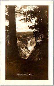 Yellowstone National Park Real Photo RPPC Postcard YELLOWSTONE FALLS 1949