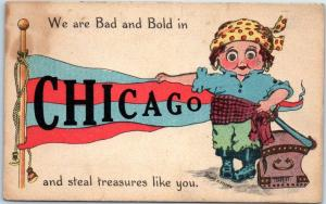 CHICAGO Illinois Postcard PIRATE GRILL w/ Red & Blue Pennant c1910s