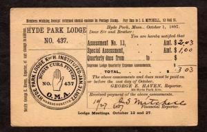 MA Hyde Park Lodge No 437 Mass Massachusetts Postal Card 1897