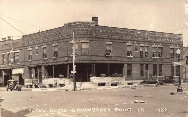 STRAWBERRY POINT IA HOTEL BLOCK-FRANKLIN -DOC HOWARDS OFFICE-REAL PHOTO POSTCARD