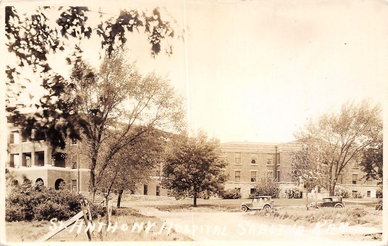 Sabetha Kansas~Vintage 1920s Car @ St Anthony's Hospital~Real Photo Postcard