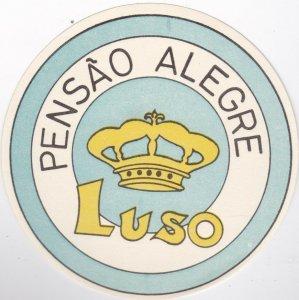 Portugal Luso Pensao Alegre Vintage Luggage Label lbl0525