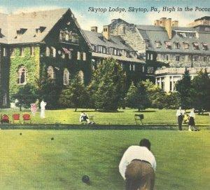 Postcard Poconos Skytop PA Skytop Lodge Vintage Lawn Games Croquet  Posted
