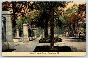 Evanston Illinois~Ridge Avenue~Pillar Gates~Mansions~Mary W Cunningham~1912 PC
