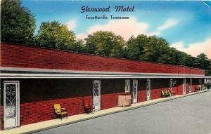 Fayetteville Tennessee~Glenwood Motel~Lawnchairs by Doors~1950s Postcard