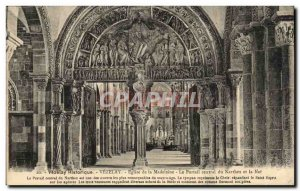 Vezelay Old Postcard Madeleine Church The central portal of the narthex and nave