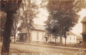 New York NY Real Photo RPPC Postcard 1908 NEWARK VALLEY Congregational Church