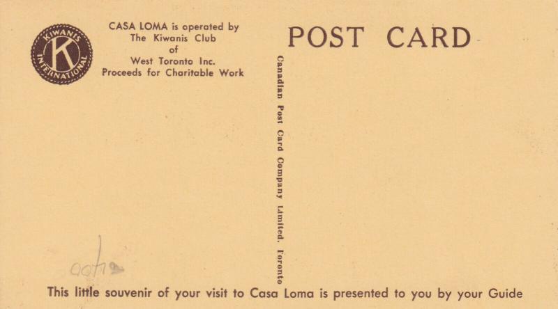 CASA LOMA , TORONTO, Ontario , 30-50s Tour Guide #9