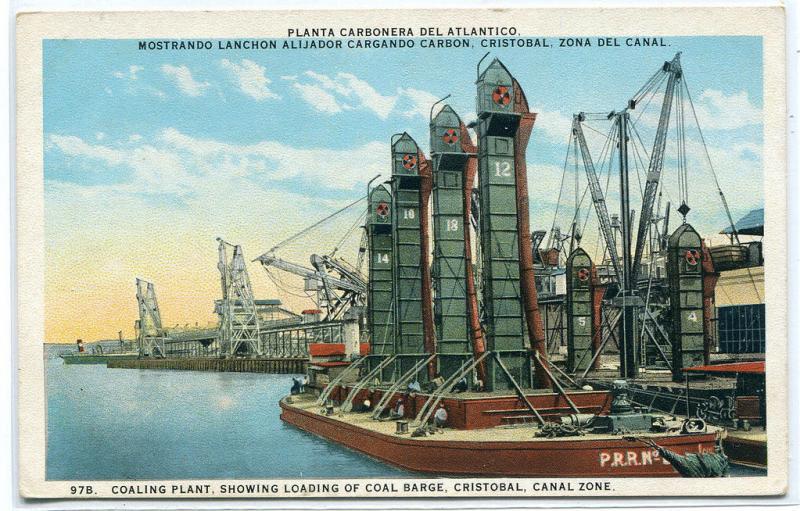 Coaling Plant Coal Barge Cristobal Panama Canal Zone postcard