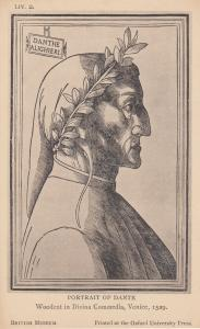 Portrait Of Dante Of Dantes Inferno Venice 1529 Engraving Postcard