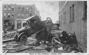 Lorain Ohio~Cars Stacked Up~Freak of the Tornado~June 28 1924 Postcard