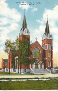 Jamestown N D~Twin Steeples @ St James Catholic Church~1910 Postcard