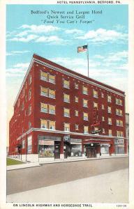 Bedford Pennsylvania Hotel Exterior Street View Antique Postcard K20398