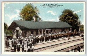 Oak Harbor Ohio~Railroad Depot~Co M 6th Reg Leaving~Mexican Border War~1916 PC