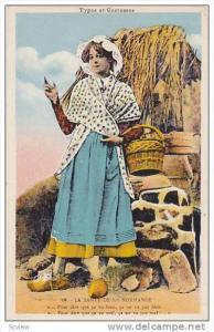 Woman Carrying A Basket, La Sante De La Normande, France, 1900-1910s