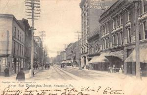 Newcastle Pennsylvania Washington Street Historic Bldgs Antique Postcard K17768