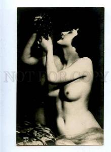 184716 NUDE Belle Woman w/ GRAPE Vintage PHOTO AN #505